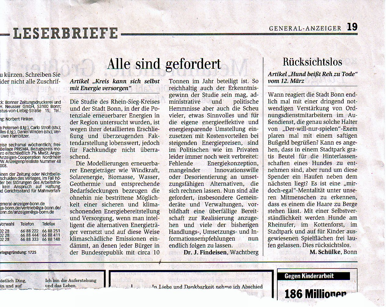 Zeitungsartikel Leserbriefe